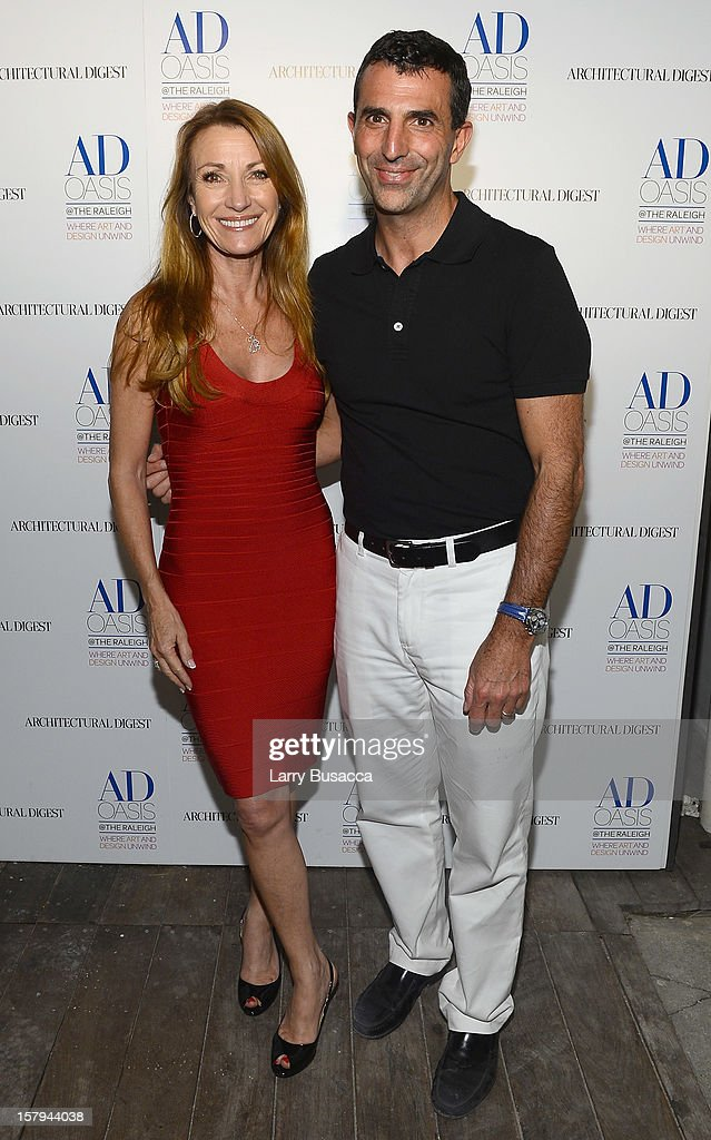 Actress Jane Seymour and Giulio Capua of Architectural Digest arrive to AD Oasis & Sunbrella host Cocktail Party Celebrating AD100 Designer Mark Cunningham at The Raleigh on December 7, 2012 in Miami, Florida.