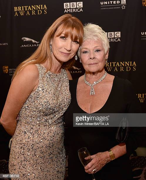 Actress Jane Seymour and honoree Dame Judi Dench attend the BAFTA Los Angeles Jaguar Britannia Awards presented by BBC America and United Airlines at...
