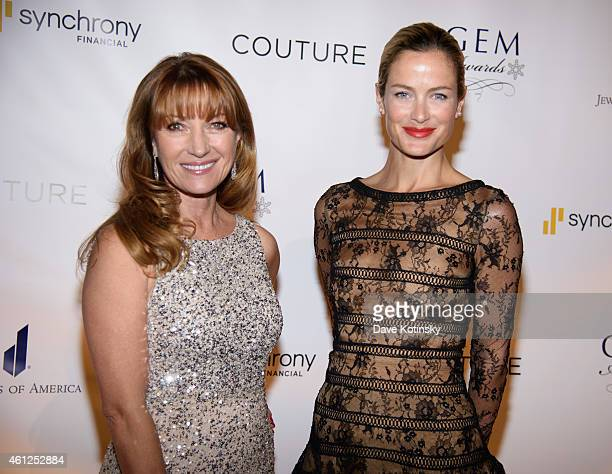 Actress Jane Seymour and Model Carolyn Murphy arrives at the 13th Annual GEM Awards Gala at Cipriani 42nd Street on January 9 2015 in New York City
