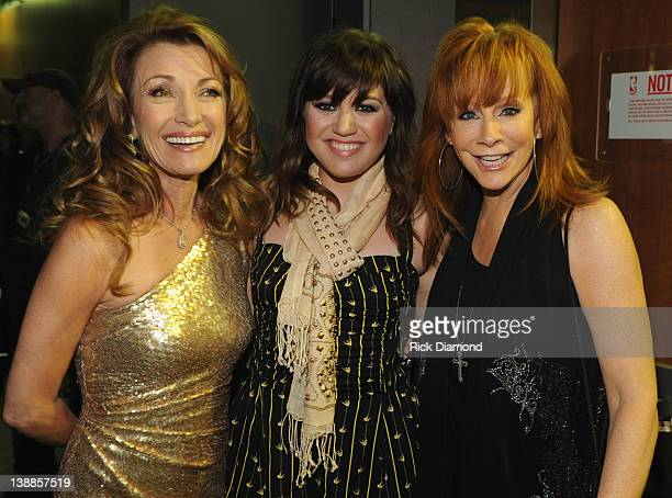 Actress Jane Seymour and singers Kelly Clarkson and Reba McEntire attend The 54th Annual GRAMMY Awards at Staples Center on February 12 2012 in Los...