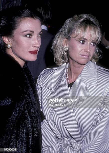 Actress Jane Seymour and Susan George attend the party honoring Glen Larson on October 2 1985 at Chasen's Restaurant in Beverly Hills California