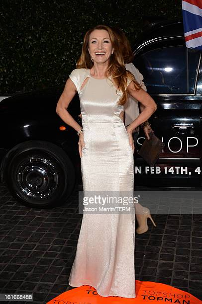 Actress Jane Seymour arrives at the Topshop Topman LA Opening Party at Cecconi's West Hollywood on February 13 2013 in Los Angeles California