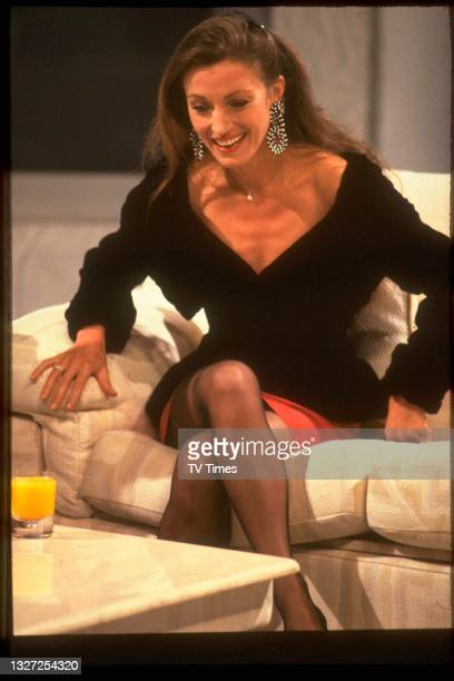 Actress Jane Seymour during an appearance on chat show Des O'Connor Tonight, circa 1989.