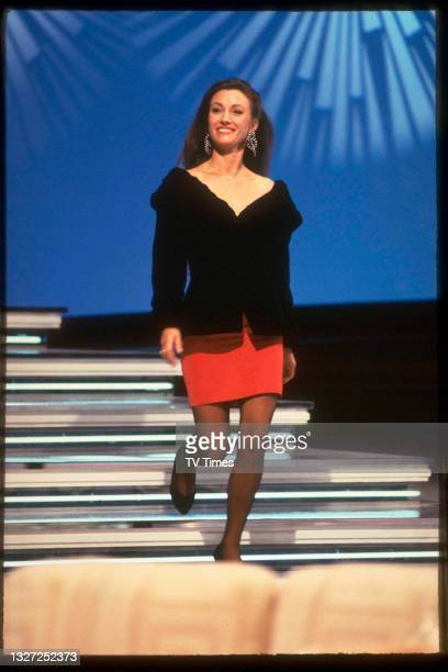 Actress Jane Seymour during an appearance on variety chat show Des O'Connor Tonight, circa 1989.