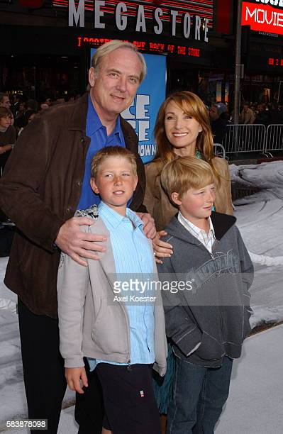 Actress Jane Seymour husband James Keach and their children Johnny and Kris arrive at the premiere for the movie Ice Age The Meltdown at Grauman's...