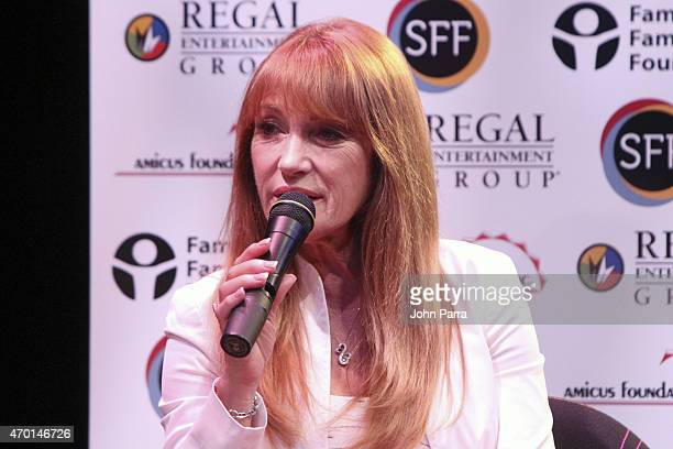 Actress Jane Seymour speaks on stage during a conversation at the 2015 Sarasota Film Festival Day 8 on April 17 2015 in Sarasota Florida