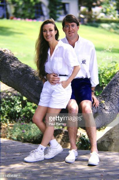 Actress Jane Seymour with her husband in 1990 David Flynn standing in the garden May 16 1990 of their Montecito near Santa Barbara EstateCalifornia