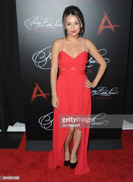 """Actress Janel Parrish arrives at """"Pretty Little Liars"""" Celebrates 100 Episodes at W Hollywood on May 31, 2014 in Hollywood, California."""