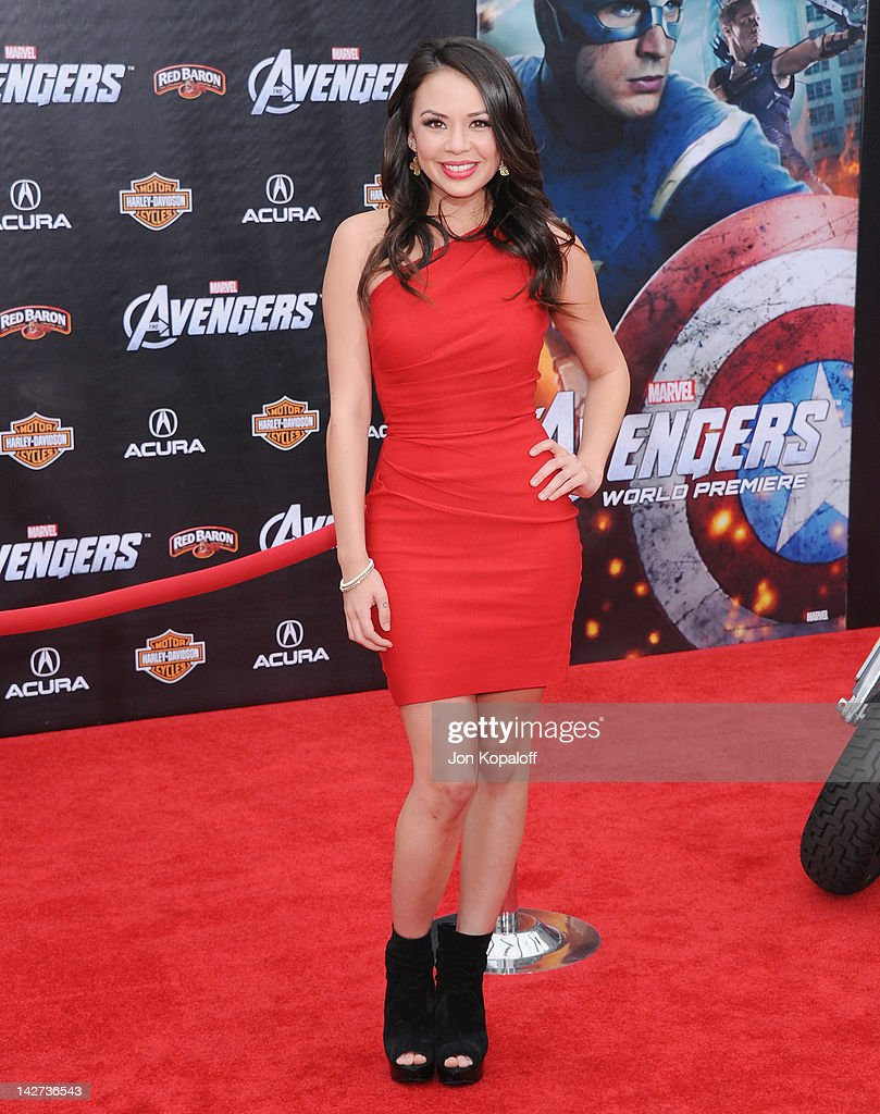 Actress Janel Parrish arrives at the Los Angeles Premiere of 'The Avengers' at the El Capitan Theatre on April 11, 2012 in Hollywood, California.