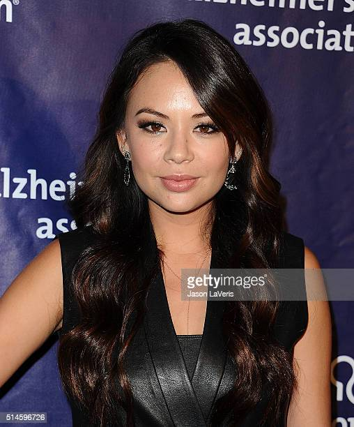 """Actress Janel Parrish attends the 2016 Alzheimer's Association's """"A Night At Sardi's"""" at The Beverly Hilton Hotel on March 9, 2016 in Beverly Hills,..."""
