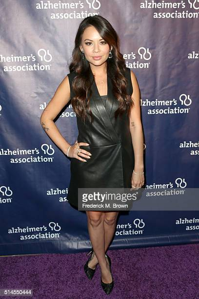 """Actress Janel Parrish attends the 24th and final """"A Night at Sardi's"""" to benefit the Alzheimer's Association at The Beverly Hilton Hotel on March 9,..."""