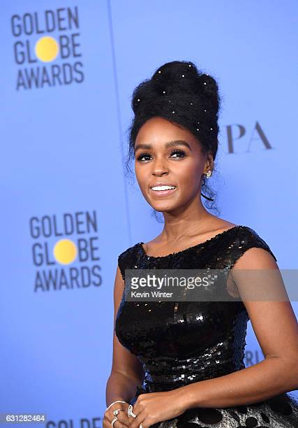 Actress Janelle Monae of 'Moonlight,' winner of Best Motion Picture - Drama, poses in the press room during the 74th Annual Golden Globe Awards at...