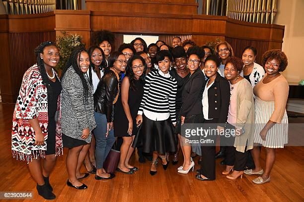 Actress Janelle Monae pose with Spelman College students at Hidden Figures Q A Discussion at Spelman Convocation at Spelman College on November 17...