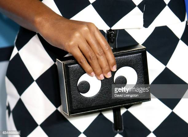 Actress Janelle Monae purse detail attends the 8th Annual Essence Black Women in Music Event at NeueHouse Hollywood on February 9 2017 in Los Angeles...