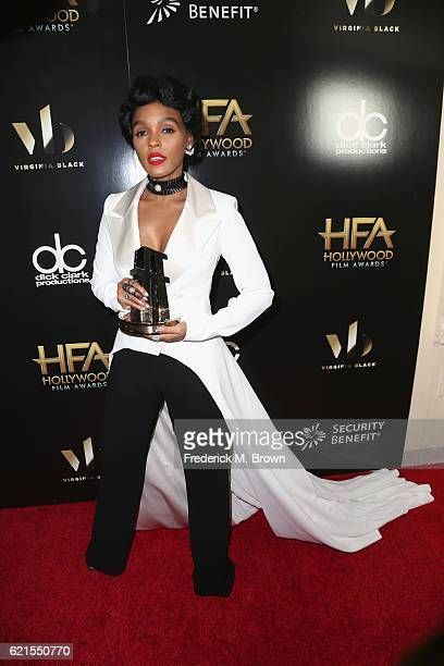 Actress Janelle Monae recipient of the 'Spotlight Award' for 'Hidden Figures' poses in the press room at the 20th Annual Hollywood Film Awards at The...