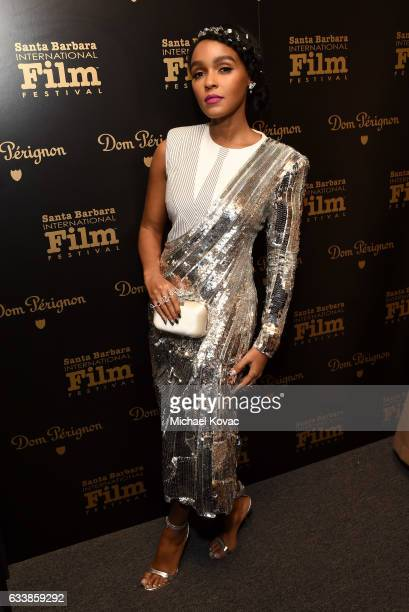 Actress Janelle Monae visits the Dom Perignon Lounge before receiving the Virtuosos Award at The Santa Barbara International Film Festival on...