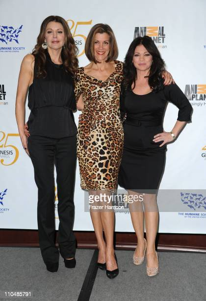 Actress Janes Leeves Wendie Malick Valerie Bertinalli pose in the press room at the 25th Anniversary Genesis Awards held at the Hyatt Regency Century...