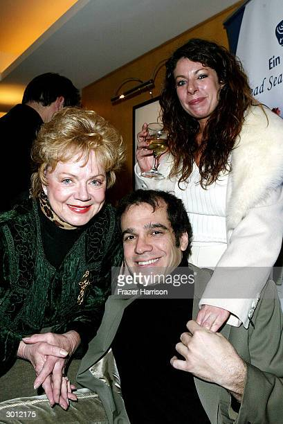 Actress Janet Carroll with writer Andrew Ross and Veroinque Munro of Magic Tan at the On the Rocks A PreOscar retreat held at Raffle's L'Ermitage...