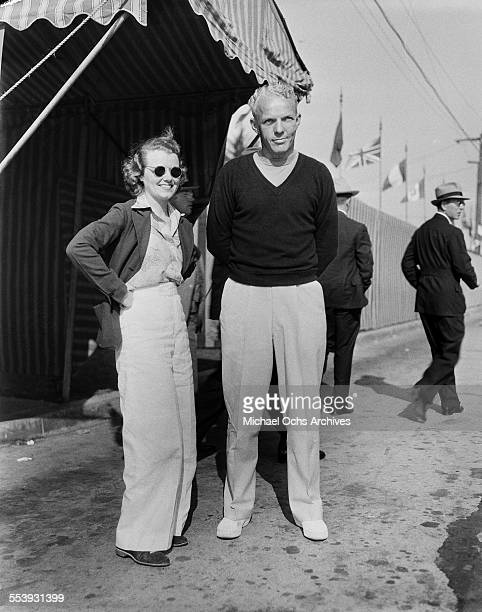 Actress Janet Gaynor and Al Scott pose in Los Angeles California