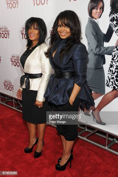 """Actress Janet Jackson and sister Rebbie Jackson attend the premiere of """"Why Did I Get Married Too?"""" at the School of Visual Arts Theater on March 22,..."""
