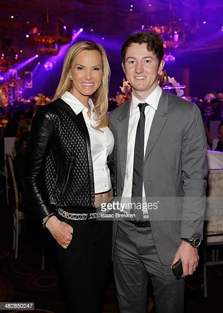 Actress Janet JonesGretzky and son Ty Gretzky attend the 13th annual Michael Jordan Celebrity Invitational gala at the ARIA Resort Casino at...