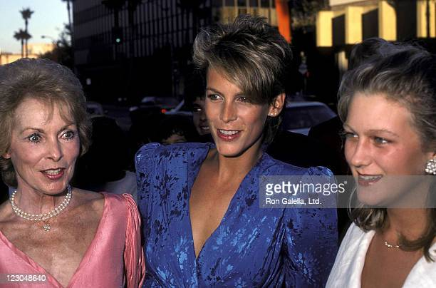 Actress Janet Leigh actress Jamie Lee Curtis and halfsister Alexandra KaufmannCurtis attend the Grandview USA Beverly Hills Premiere on July 23 1984...