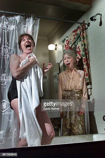 Actress Janet Leigh returned to the set of the original Psycho at Universal Studios Hollywood to help recreate the famous shower scene from the...