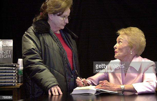 """Actress Janet Leigh signs her new book """"The Dream Factory"""" February 12, 2002 in New York City. Leigh starred in the Alfred Hitchcock thriller..."""