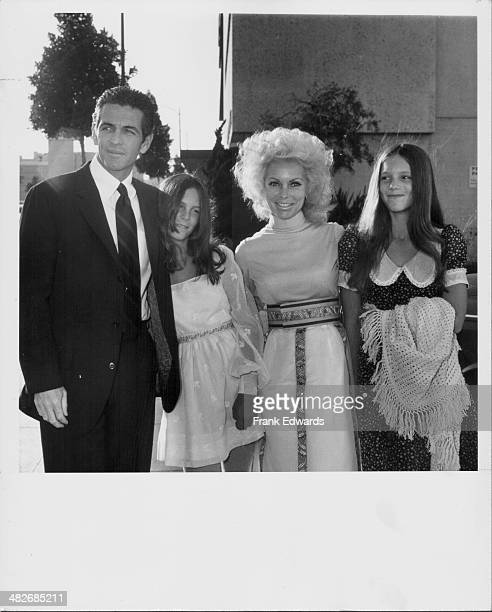 Actress Janet Leigh with her husband Robert Brandt and daughter Kelly and Jamie Lee Curtis at a Hollywood party California 1968