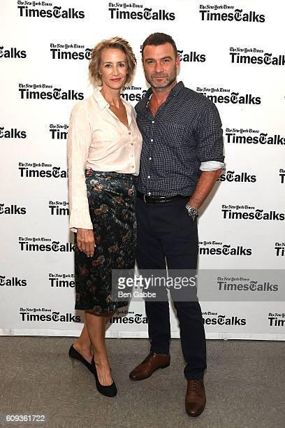 Actress Janet McTeer and actor Liev Schreiber attend TimesTalks Presents Les Liaisons Dangereuses at Merkin Concert Hall on September 20 2016 in New...