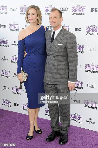 Actress Janet McTeer and Joe Coleman arrive at the 2012 Film Independent Spirit Awards on February 25 2012 in Santa Monica California
