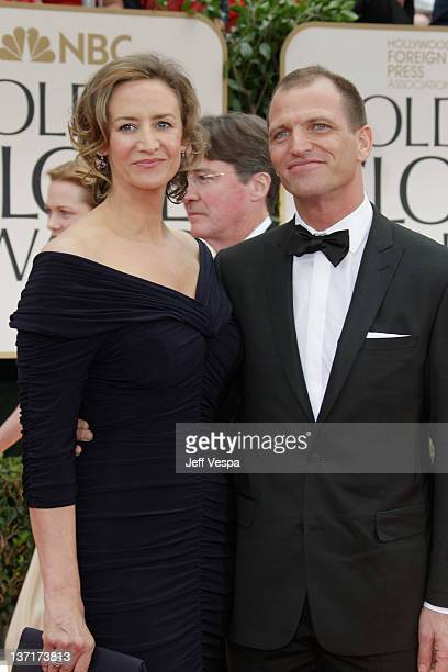 Actress Janet McTeer and Joe Coleman arrive at the 69th Annual Golden Globe Awards held at the Beverly Hilton Hotel on January 15 2012 in Beverly...