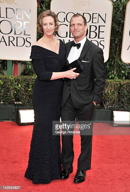 Actress Janet McTeer and Joe Coleman arrive at the 69th Annual Golden Globe Awards at The Beverly Hilton hotel on January 15 2012 in Beverly Hills...