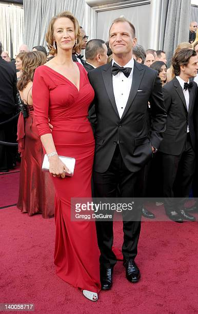 Actress Janet McTeer and Joe Coleman arrive at the 84th Annual Academy Awards at Hollywood Highland Center on February 26 2012 in Hollywood California