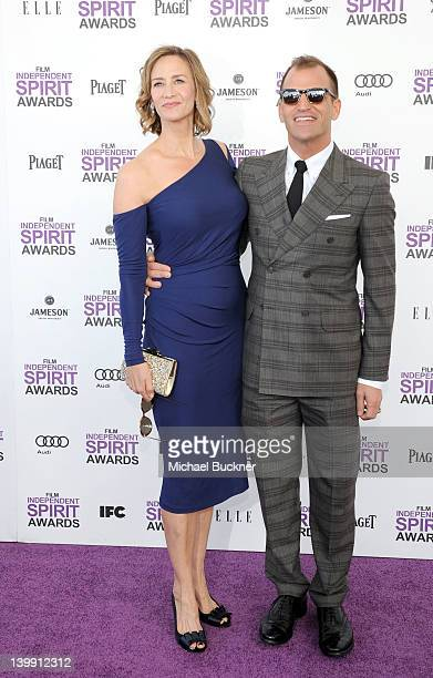 Actress Janet McTeer and Joe Coleman arrive with Audi at the 2012 Film Independent Spirit Awards at Santa Monica Pier on February 25 2012 in Santa...