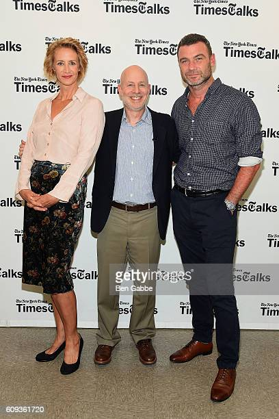 Actress Janet McTeer reporter Michael Paulson and actor Liev Schreiber attend TimesTalks Presents Les Liaisons Dangereuses at Merkin Concert Hall on...