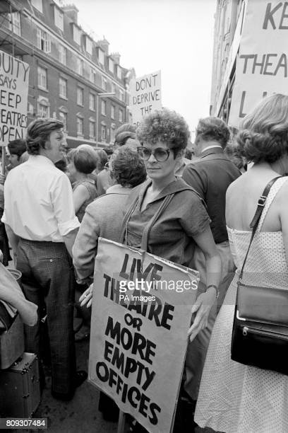 Actress Janet Suzman carries a protest banner in Wardour Street London when she joined a number of leading personalities from Equity in a...