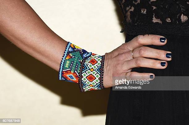 Actress Janet Varney manicure and jewelry detail arrives at the AMC Networks' 68th Primetime Emmy Awards AfterParty Celebration at BOA Steakhouse on...