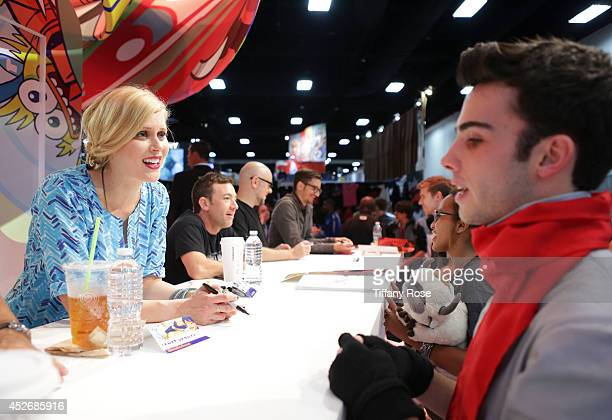Actress Janet Varney signs autographs at the Legend of Korra signing at the 2014 San Diego ComicCon International Day 3 on July 25 2014 in San Diego...