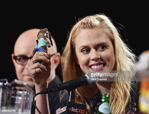 Actress Janet Varney speaks during the 'The Legend Of Korra' panel during 2014 New York Comic Con Day 1 at Jacob Javitz Center on October 9 2014 in...