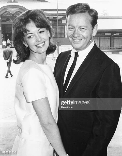 Actress Janette Scott and singer Mel Torme smiling following their wedding ceremony in Tokyo May 22nd 1966