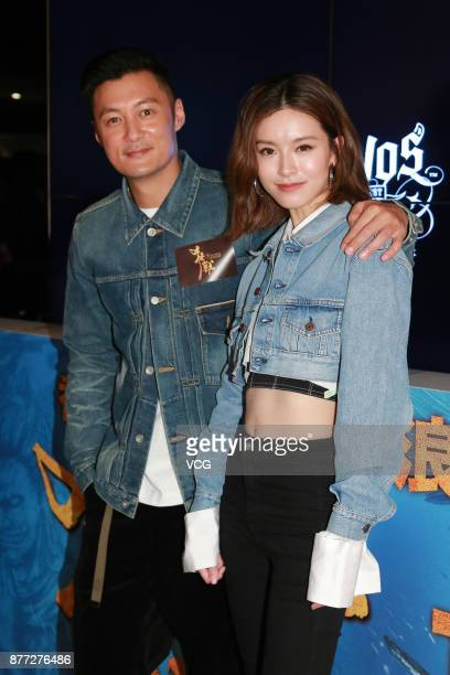 Actress Janice Man and actor Shawn Yue attend the premiere of director Jonathan Li's film 'The Brink' on November 21 2017 in Hong Kong China