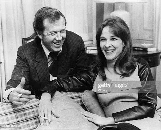 Actress Janice Rule sharing a joke with producer Michael Medwin at a photo call for their film 'Gumshoe' at Grosvenor House London November 2nd 1970