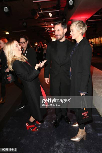Actress Janin Ullmann Actor Clemens Schick and Actress Gesine Cukrowski during the Marc Cain Fashion Show Berlin Autumn/Winter 2018 at metro station...