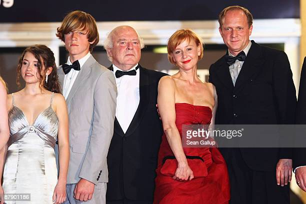 Actress Janina Fautz actor Enno Trebs an unidentified guest actress Suzanne Lothar and actor Ulrich Tukur attend the The White Ribbon Premiere held...