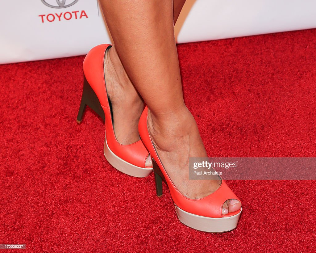 Actress Janina Gavankar (shoe detail) attends the West Coast Liberty Awards celebrating Lambda Legal's 40th anniversary at The London Hotel on June 13, 2013 in West Hollywood, California.