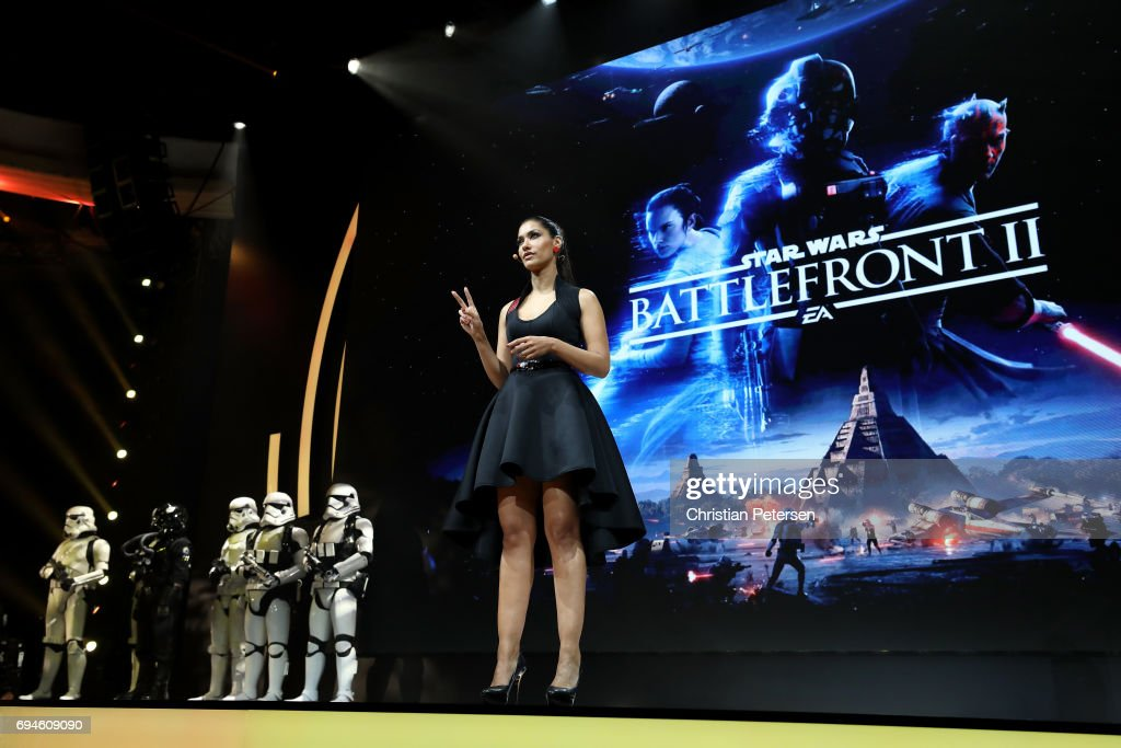 Actress Janina Gavankar introduces 'Star Wars Battlefront 2' as she speaks during the Electronic Arts EA Play event at the Hollywood Palladium on June 10, 2017 in Los Angeles, California. The E3 Game Conference begins on Tuesday June 13.