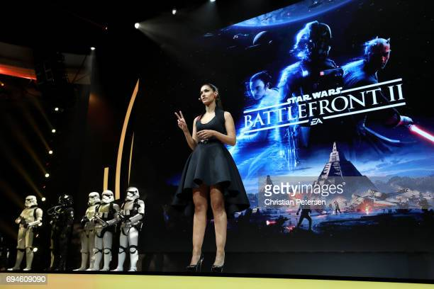 Actress Janina Gavankar introduces 'Star Wars Battlefront 2' as she speaks during the Electronic Arts EA Play event at the Hollywood Palladium on...