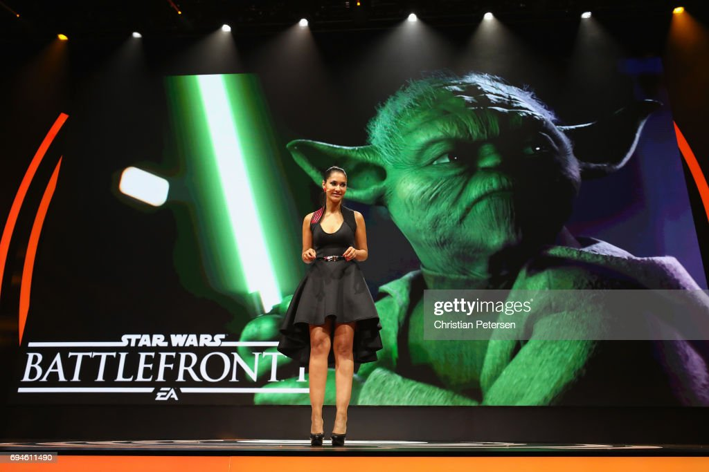 Actress Janina Gavankar introduces 'Star Wars Battlefront 2' during the Electronic Arts EA Play event at the Hollywood Palladium on June 10, 2017 in Los Angeles, California. The E3 Game Conference begins on Tuesday June 13.