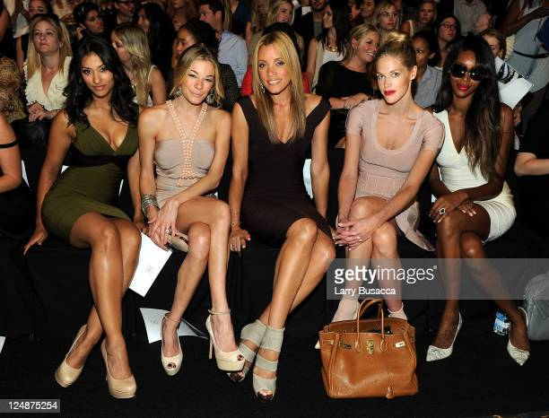 Actress Janina Gavankar singer LeAnn Rimes actress Michael Michelle Byrdie Bell and model Jessica White attend the Herve Leger by Max Azria Spring...